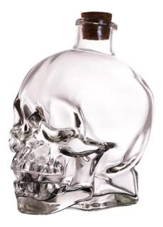 Botella De Calavera Vidrio + 4 Vasos Cortos De Calavera
