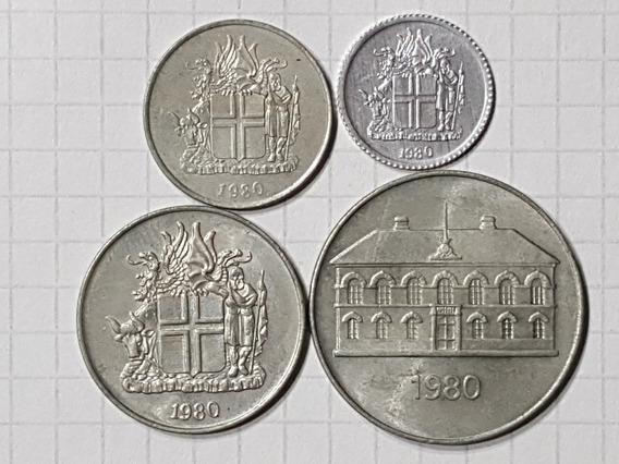 Islandia Colección 4 Monedas Diferentes En Excelente Estado