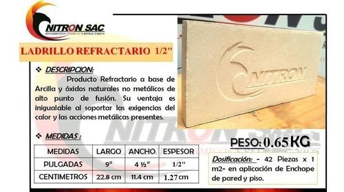 Ladrillo Refractario Nitron Grosor 1/2 Pulgada