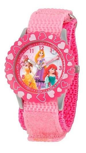 Reloj De Acero Inoxidable Con Disney Princess Pink Correa