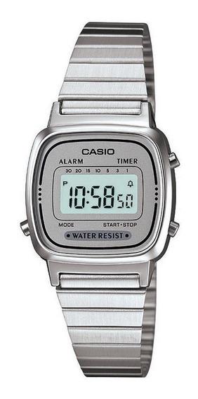 Relógio Casio Feminino La670 Cinza Vintage Tamanho Mini