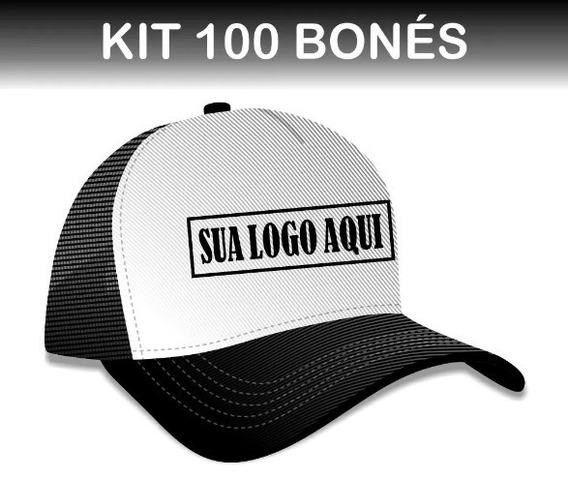Kit 100 Bonés Trucker Premium Personalizado Com Sua Logomarc