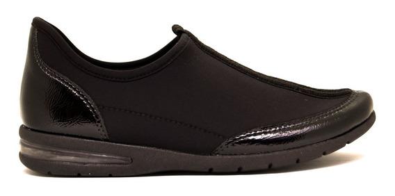 Zapatillas Mujer Charol Y Lycra Soft Negro Suela Aire Comfortflex
