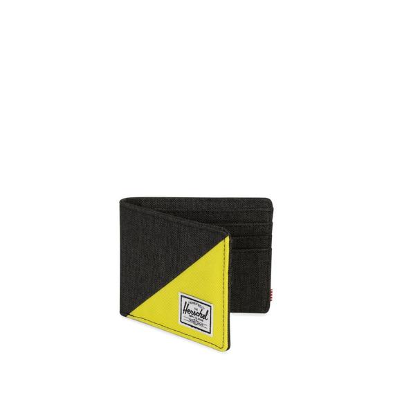 Billetera Hombre Herschel Roy Rfid Negro/amarillo