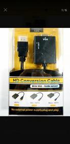 Kit 10 Cabo Conversor Hdmi Macho/vga Femea