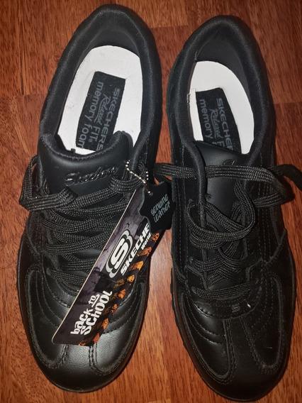 Zapatillas Nuevas Skechers Negras De Cuero Para El Cole!