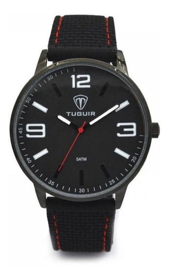 Relógio Masculino Tuguir Analógico 5046 - Preto E Vermelho.