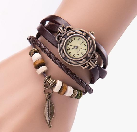 Relógio Feminino Vintage Pulseira Couro Pu Coffe Promoção