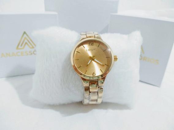 Relógio De Pulso Para Mulher Dourado Aço Inox Prova D