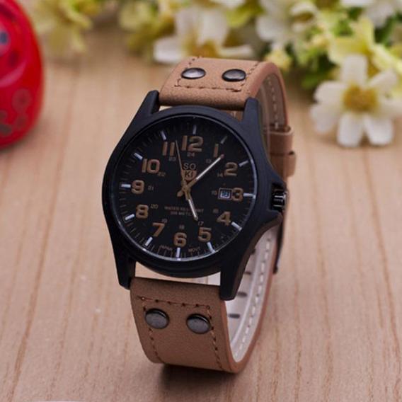 Relógios Casual Masculino Pulseira De Couro Soki Barato!!!!!