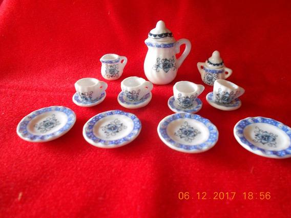 Juego De Te Miniatura - Porcelana - Adorno - Casa De Muñecas