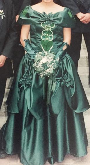 Vestido De Xv Años Original Hecho A Mano. Verde Esmeralda