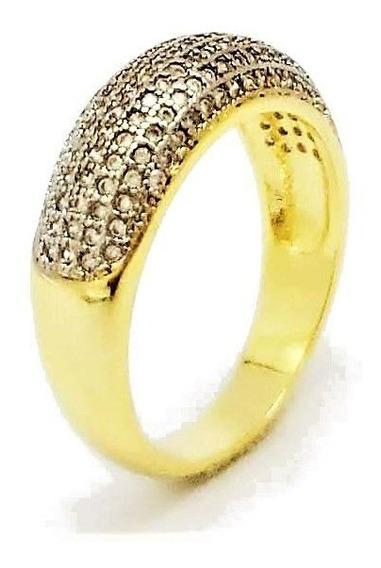 Anel Aparador De Aliança Cravação Cristal Banhado Ouro 4639