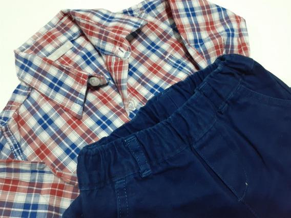 Camisa Y Pantalón Azul Gabardina Talle M. Mimo Y Carters