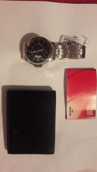 Relógio Masculino Seculus Prata Com Carteira Barato Promoção