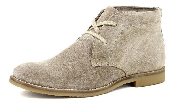 Botinha Desert Boots Chelsea Com Cadarço Couro Na Cor Bege