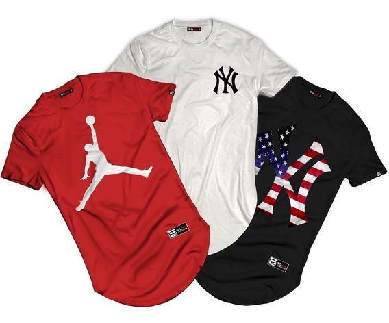 Kit 5 Camisetas Longlina Camisa Alongada / Blusa Alta Qualidade / Camisas Com Varias Estampas A Sua Escolha.
