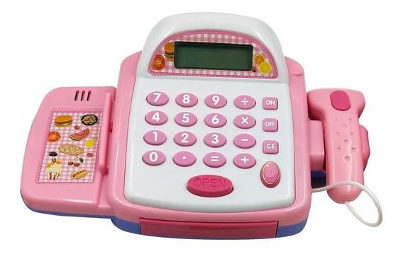 Brinquedo Infantil Caixa Registradora Rosa Completo Com Som