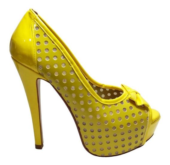Zapatillas Amarillas Abiertas Peep Toe