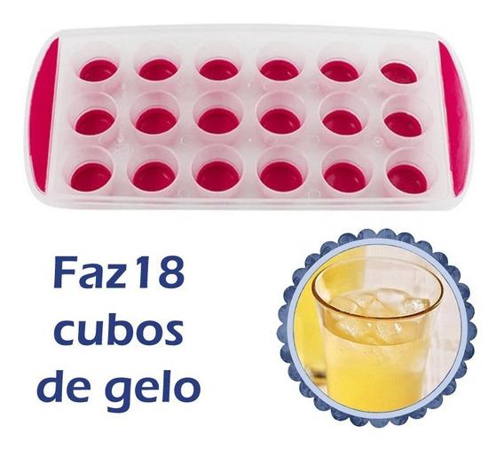 Forma De Gelo Redondo Com Fundo Vermelho Flexivel Silicone Western - Faz 18 Cubos De Gelo Freezer Congelador