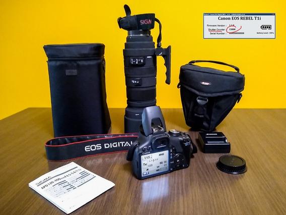 Canon Dslr T1i 15000 Cliques + Lente Zoom Sigma 120-400mm