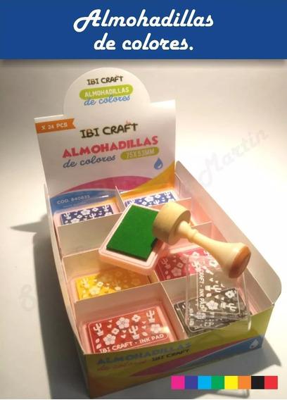 Caja De 24 Almohadillas Con Tinta Colores Surtidos P/ Sellos