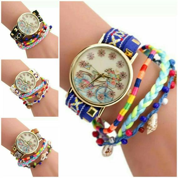 Kit 2 Relógio Feminino Pulseira Bracelete Miçangas Fashion