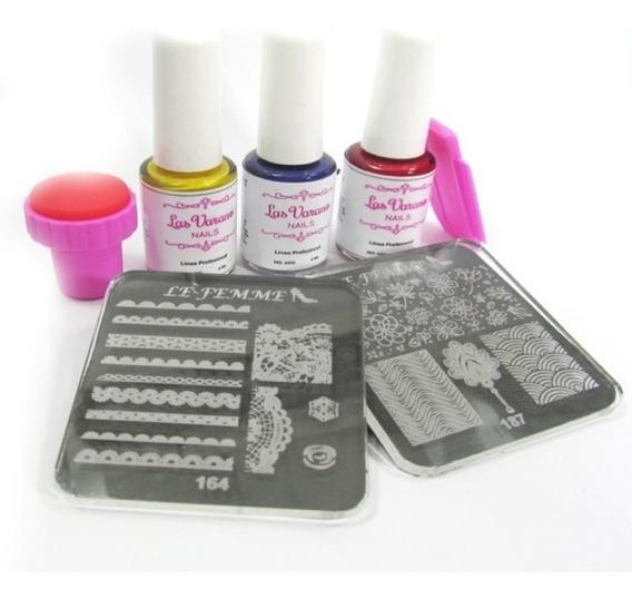 Set Stamping 2 Placas + Sello + Raspador 3 Esmaltes Lefemme