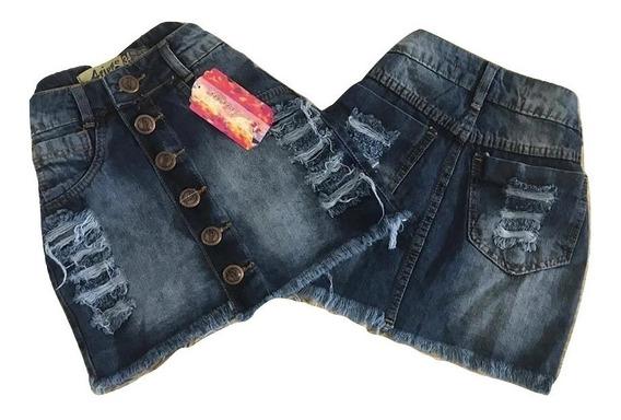 Saias Jeans Feminino Detonada Luxo Sli Hot Pant Cintura Alta