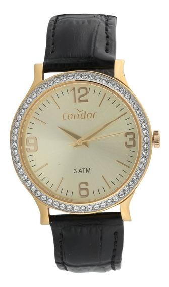 Relógio Condor Feminino Co2039bm/2d Dourado Couro Preto