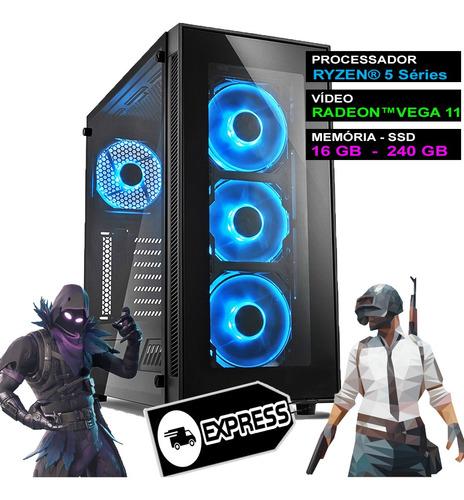 Imagem 1 de 6 de Pc Gamer Computador Completo Ryzen 5 16gb Ddr4 Ssd Nfe Wifi