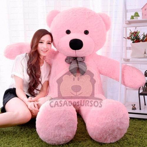 Urso Rosa Gigante Grande De Pelúcia 1metro E 40cm + Já Cheio