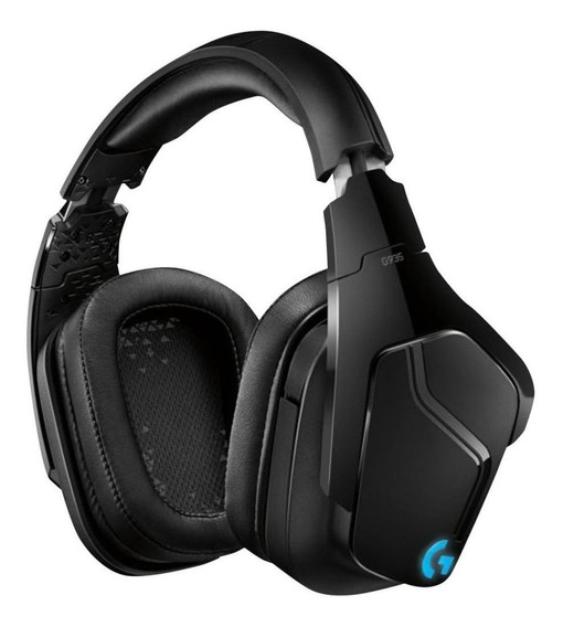 Fone de ouvido gamer sem fio Logitech G Series G935 black e blue light