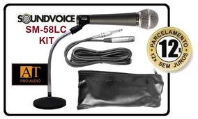 Microfone Soundvoice Sm58 + Cabo + Pedestal Mesa Kit At Pro!