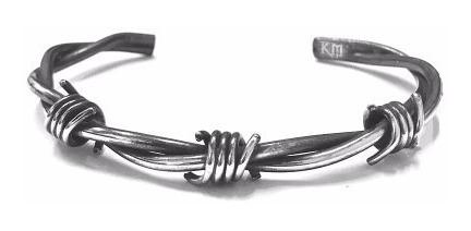 Bracelete Arame Farpado Redondo Prata 925