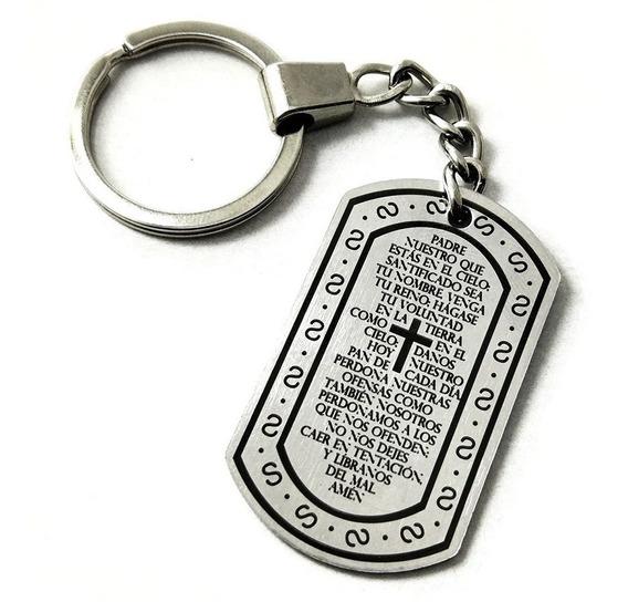 Llavero Placa Militar Dog Tag Padre Nuestro Oración Cruz