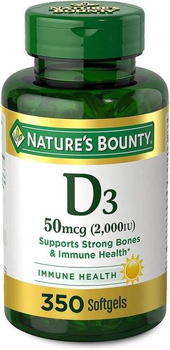 Imagen 1 de 10 de Vitamina D3 Nature's Bounty 2000 Iu 350 Softgels