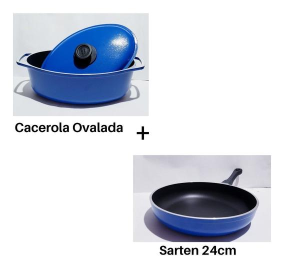 Olla Cacerola Ovalada + Sarten 24cm Cucina Donna Setx2 - Mendoza