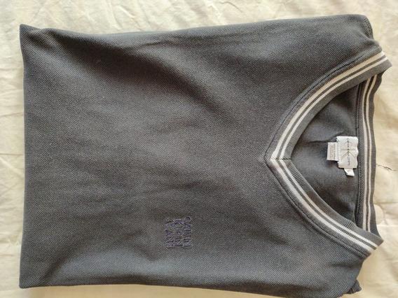 Remera Calvin Klein Talle L Azul Oscura Con Ribetes Blancos