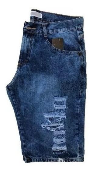 Bermuda Shorts Jeans Azul Escuro Rasgada Desfiada Destroyed