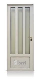 Puerta Aluminio Blanco 080x200 Con Vidrios Verticales Oferta