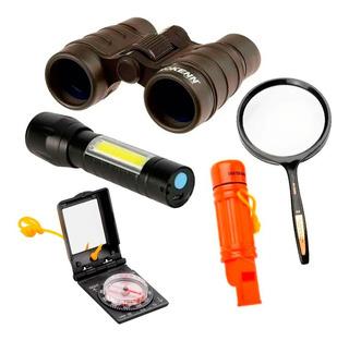 Kit Explorador Binocular Lupa Brujula Linterna Silbato 5en1