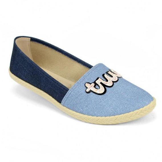 Sapatilha Feminina Conforto Tecido Azul Pan Moleca C Clique+