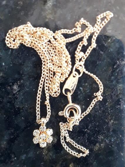 Colar Diamantes Ouro 18k Ponto De Luz Brilhante