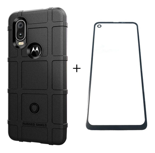 Capa Motorola One Vision Rugged Shield + Película Vidro 3d