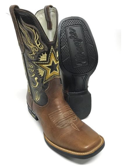 Bota Texana Country Masculina Wrangler Com Bordado Em Formato De Estrela No Cano - Promoção - Modelo Único E Exclusivo!