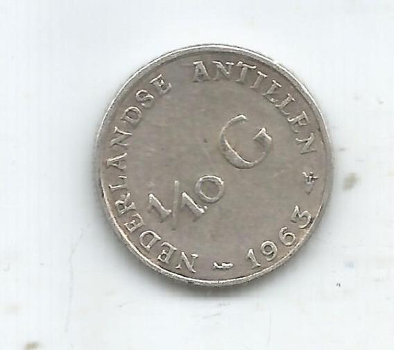 P 1607 Antillas Holandesas Moneda De Plata 1/10 Gulden 1963