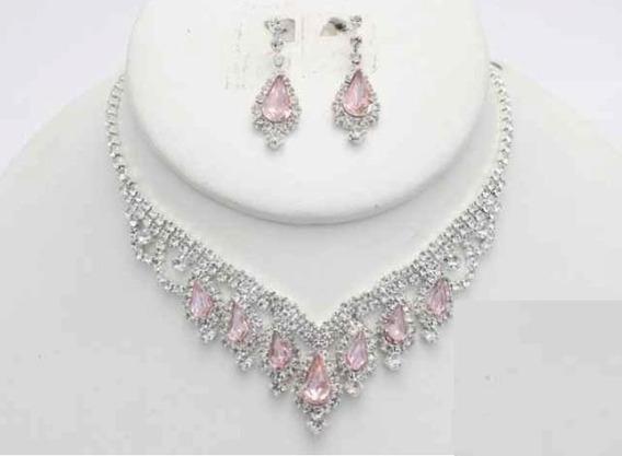 Collar Con Arete Hornamentado Rosa Cafu449-11 A20