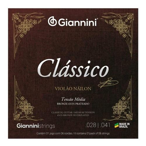 Imagem 1 de 1 de Encordoamento Violão Nylon Giannini Clássico Tensão Media