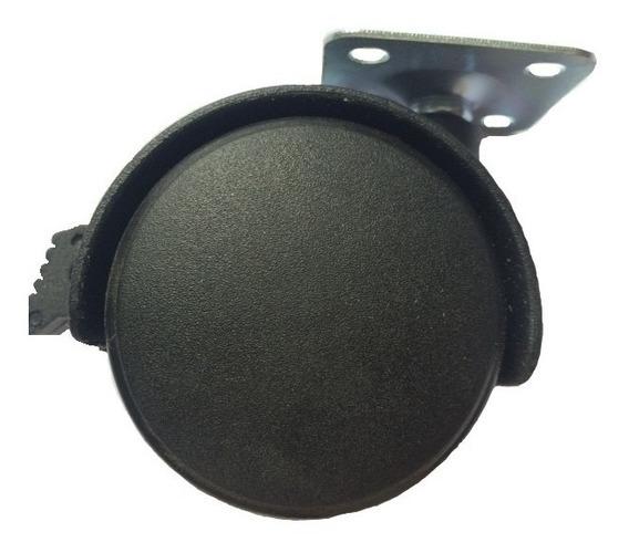 1 Rodaja Nylon C/placa P/muebles Girat Con Freno 2 Pulg